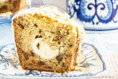 Cream Cheese Filled Banana Bread Coffee Cake Drizzled with Vanilla Glaze