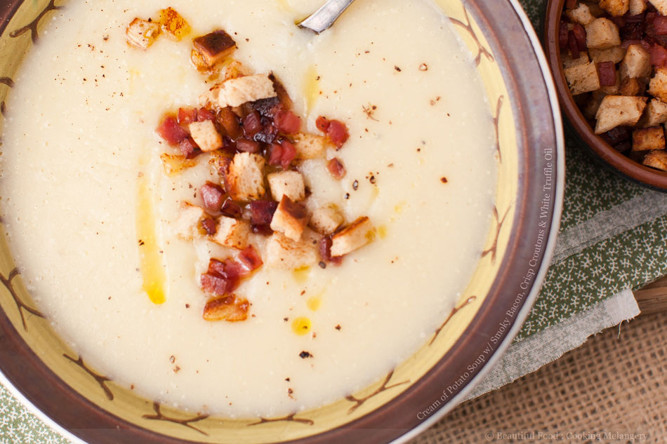 Cream of Potato Soup with Smoky Bacon, Crisp Croutons and White Truffle Oil