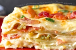 Creamed Corn and Bacon Lasagna with Thinly Sliced Potatoes, Mozzarella and Monterey Jack