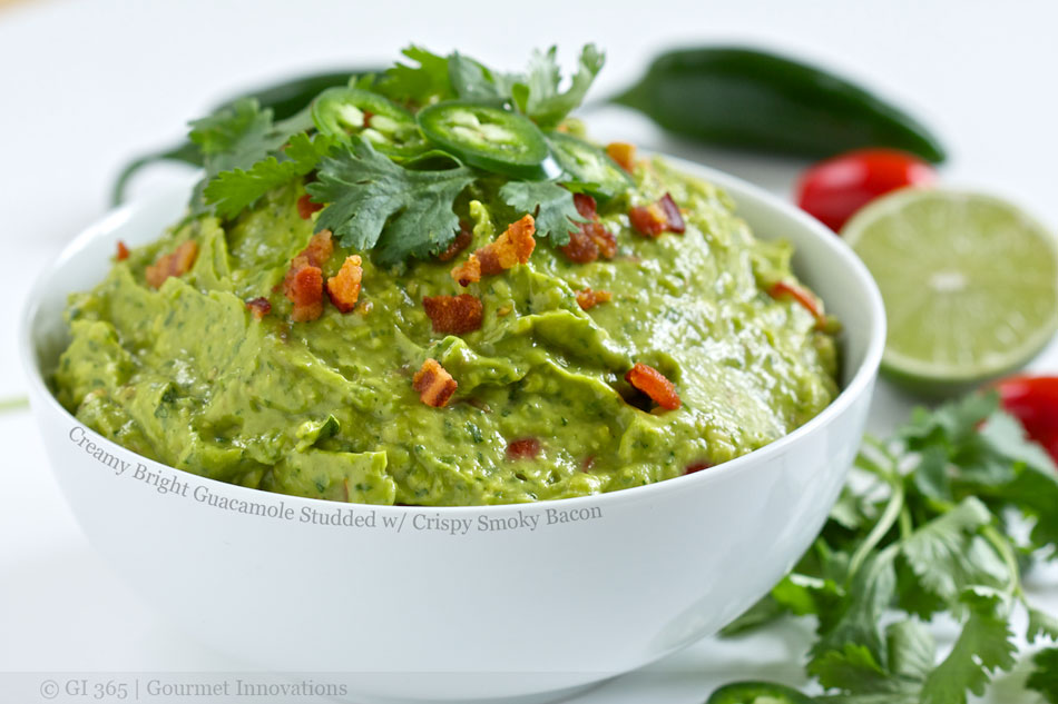 Creamy Bright Guacamole Studded with Crispy Smoky Bacon
