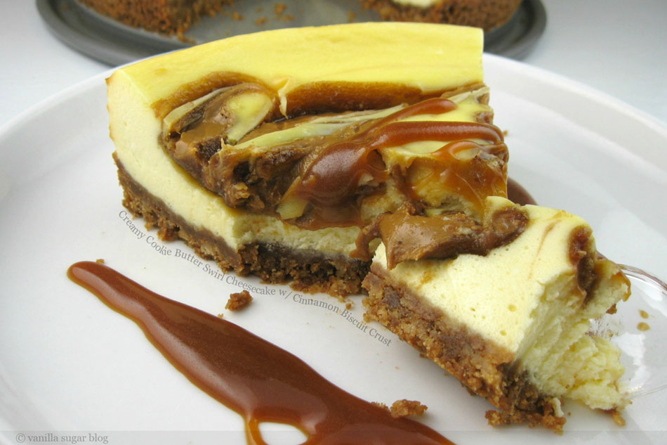 Creamy Cookie Butter Swirl Cheesecake with Cinnamon Biscuit Crust