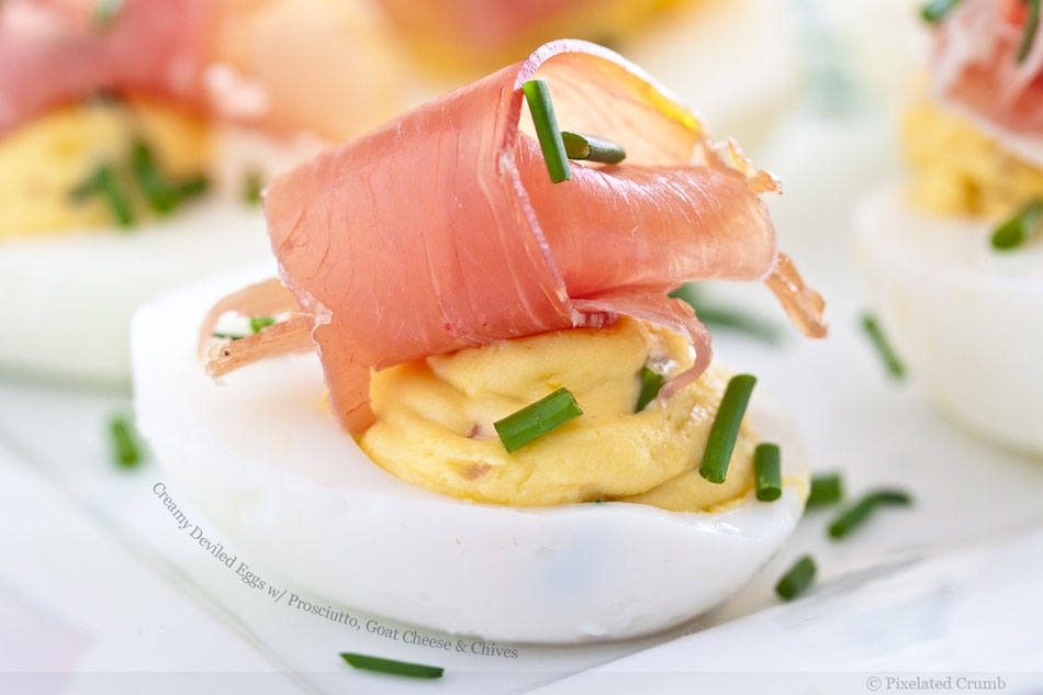 Creamy Deviled Eggs with Prosciutto, Goat Cheese and Chives