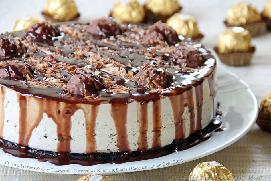 Creamy Ferrero Rocher Cheesecake Covered with Nutella and Shaved Chocolate on an Oreo Crust