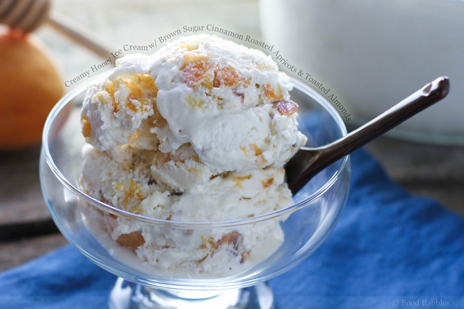 Creamy Honey Ice Cream with Brown Sugar Cinnamon Roasted Apricots and Toasted Almonds