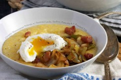 Creamy Mascarpone Polenta with Sauteed Leeks, Endive, Pancetta and a Poached Egg