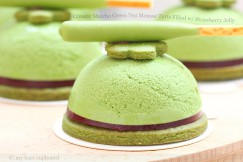 Creamy Matcha Green Tea Mousse Tarts Filled w/ Strawberrry Jelly