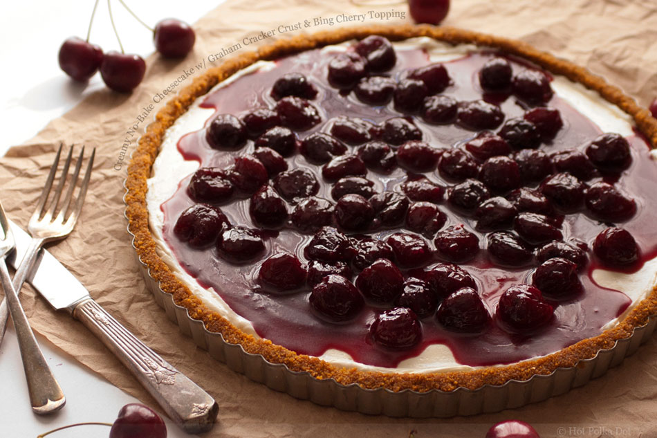 Creamy No-Bake Cheesecake with Graham Cracker Crust and Bing Cherry ...