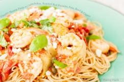 Creamy Shrimp Pasta with Artichokes, Roasted Red Peppers, Feta, Basil and Capers
