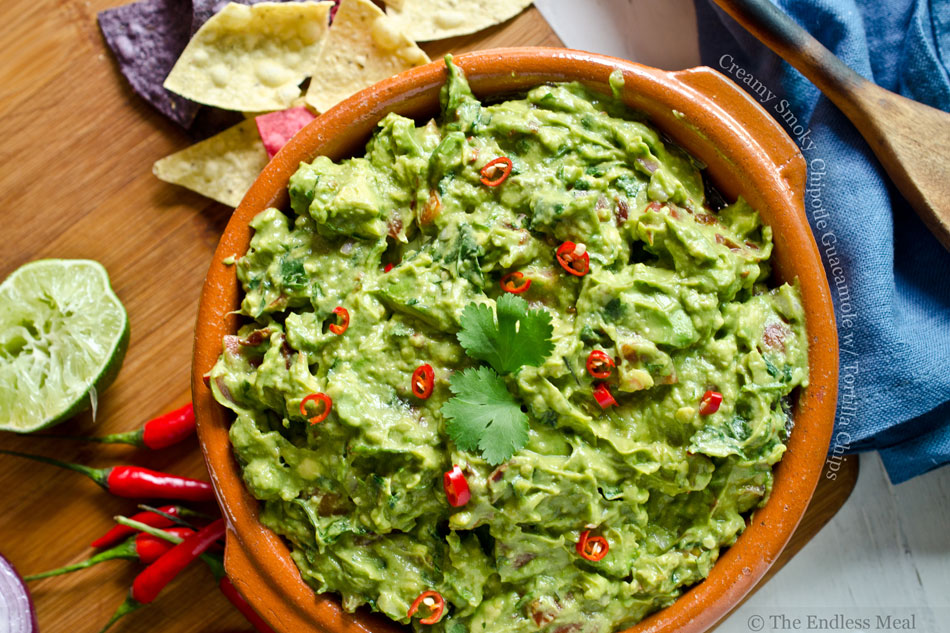Creamy Smoky Chipotle Guacamole with Tortilla Chips