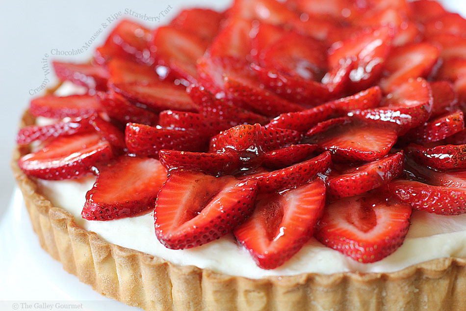 Creamy White Chocolate Mousse and Ripe Strawberry Tart