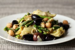 Crisp Asparagus, Artichoke Heart, Olive and Chickpea Salad with Lemony Buddha&amp;#8217;s Hand Zest Dressing