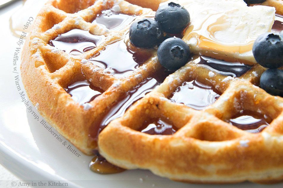 Crisp, Fluffy Waffles with Warm Maple Syrup, Blueberries and Butter