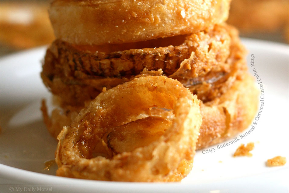 Crispy Buttermilk Battered and Cornmeal Crusted Onion Rings