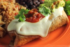 Crispy Chicken Chimichanga with Creamy Salsa Con Queso, Guacamole, Salsa Fresca and Cilantro