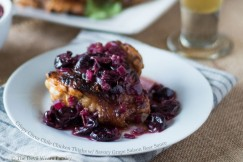 Crispy Citrus Chile Chicken Thighs with Savory Grape Saison Beer Sauce