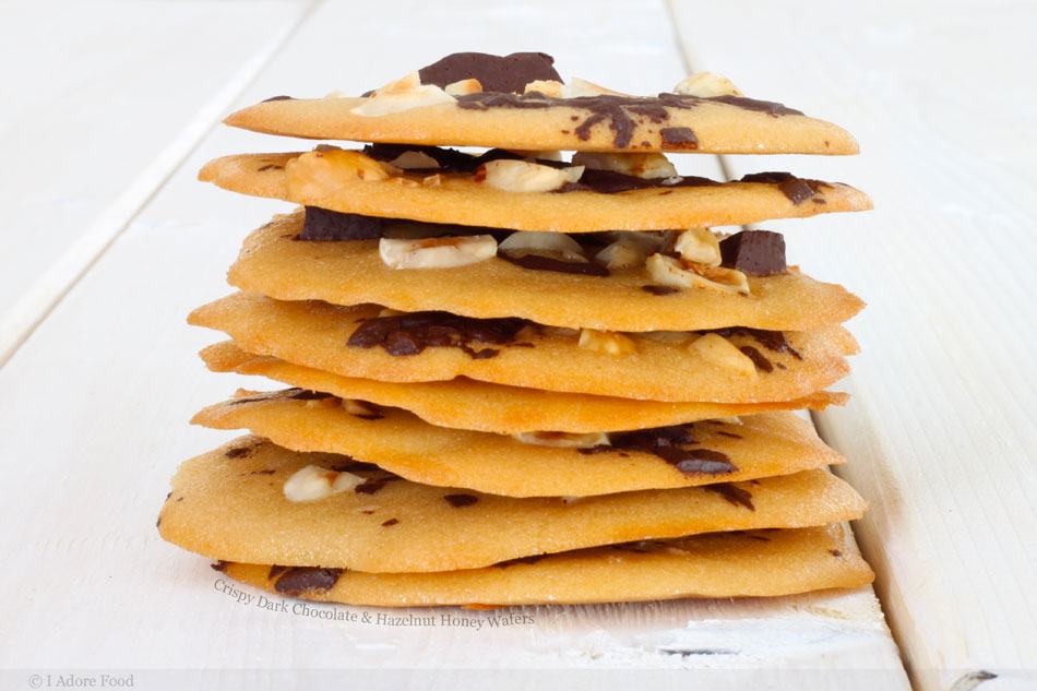 Crispy Dark Chocolate and Hazelnut Honey Wafers