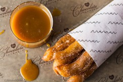 Crispy Fluffy Cinnamon Sugar Churros with Salted Caramel Sauce