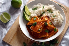 Crispy Fried Fish in Spicy Panang Curry Over Fluffy Jasmine Rice