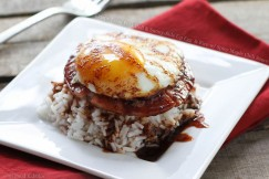 Crispy Fried Pork Roll and Sunny-Side Up Egg  and Rice with Spicy Maple Chili Sauce