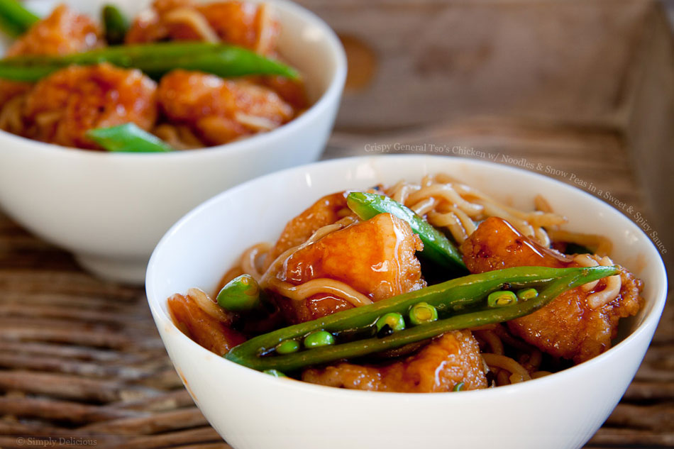 Crispy General Tsoâs Chicken with Noodles and Snow Peas in a Sweet ...