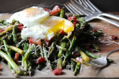 Crispy Pan Seared Asparagus, Poached Eggs and Salty Pancetta