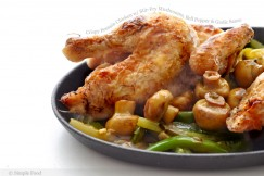 Crispy Poussin Chicken with Stir-Fry Mushrooms, Bell Pepper and Garlic Sauce
