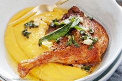 Crispy Roasted Duck Leg with Butternut Squash Mascarpone Puree and Brown Butter Sage Sauce