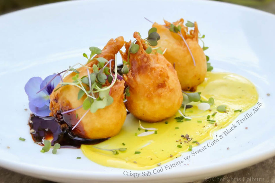 Crispy Salt Cod Fritters with Sweet Corn and Black Truffle Aioli