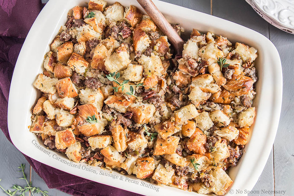 Croissant, Caramelized Onion, Sausage and Pecan Stuffing