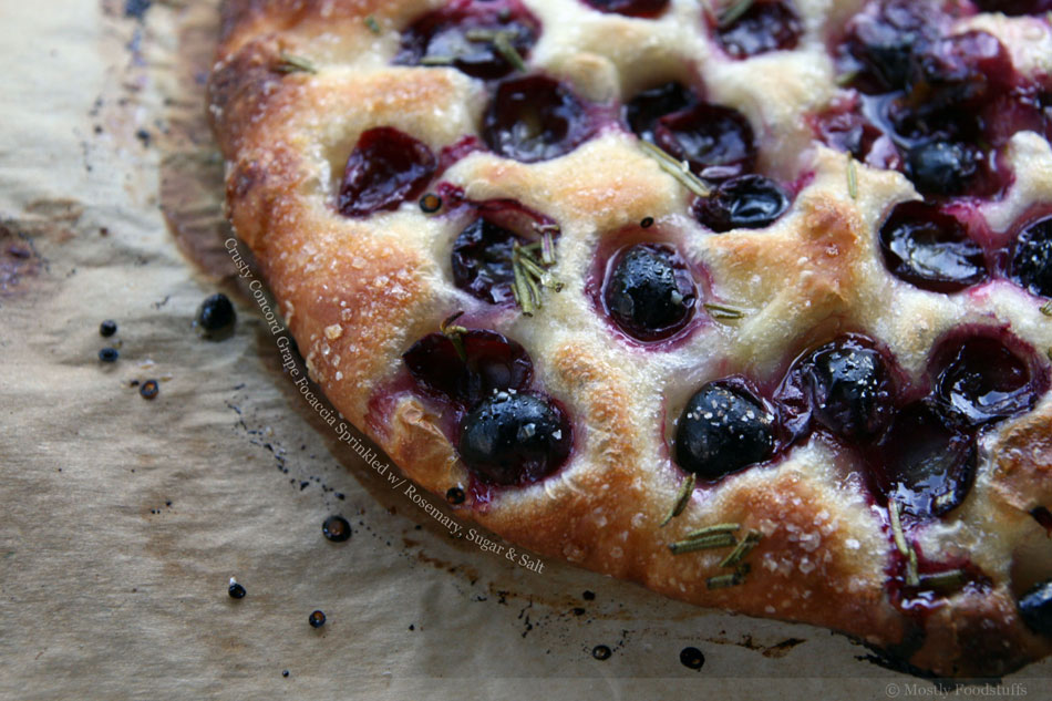 Crusty Concord Grape Focaccia Sprinkled with Rosemary, Sugar and Salt