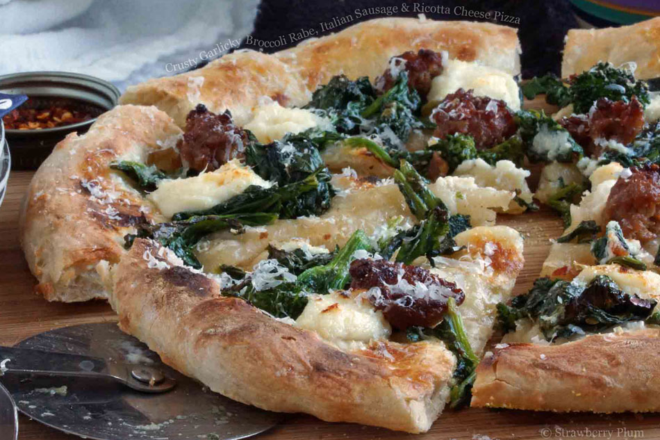Crusty Garlicky Broccoli Rabe, Italian Sausage and Ricotta Cheese Pizza