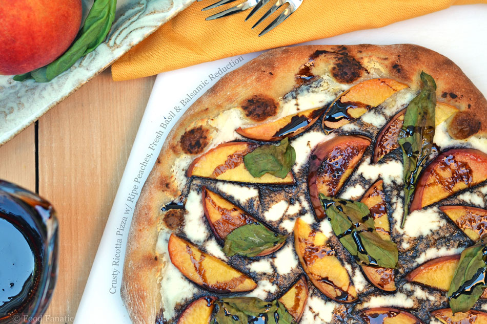 Crusty Ricotta Pizza with Ripe Peaches, Fresh Basil and Balsamic Reduction