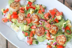 Cumin Grilled Scallops with Tomato Mango Salsa and Tomatillo Guacamole