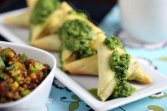 Curried Quinoa Samosas with Cilantro-Ginger Sauce