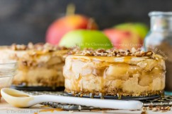 Decadent Apple Pie Cheesecake Topped with Caramel Sauce and Pecans