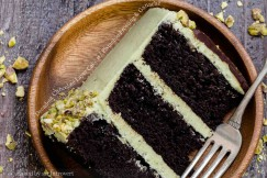Decadent Chocolate Layer Cake with Pistachio Frosting and Ganache