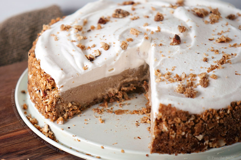 Decadent Cinnamon Chai Cream Pie with a Hazelnut Crust