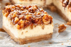Decadent Hazelnut and Pecan Caramel Cheesecake Bars