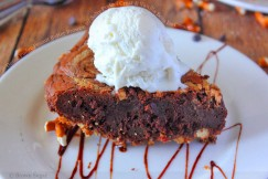 Dense Fudgy Peanut Butter Brownie with Salty Pretzel Crust and Vanilla Bean Ice Cream