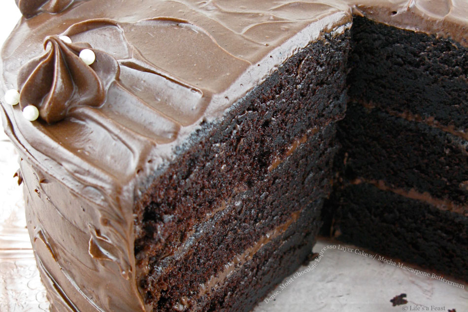 Dense, Moist Chocolate Espresso Layer Cake with Mocha Mascarpone Buttercream