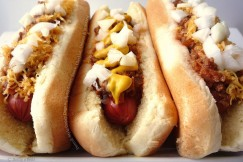 Detroit-Style Coney Dogs with Spicy Coney Sauce, Cheddar, Onions and Mustard