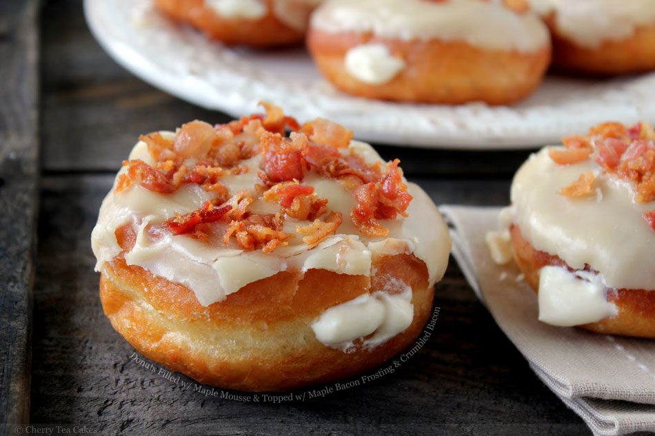 Baked Donuts With Maple Frosting And Bacon Crumbles Recipe ...