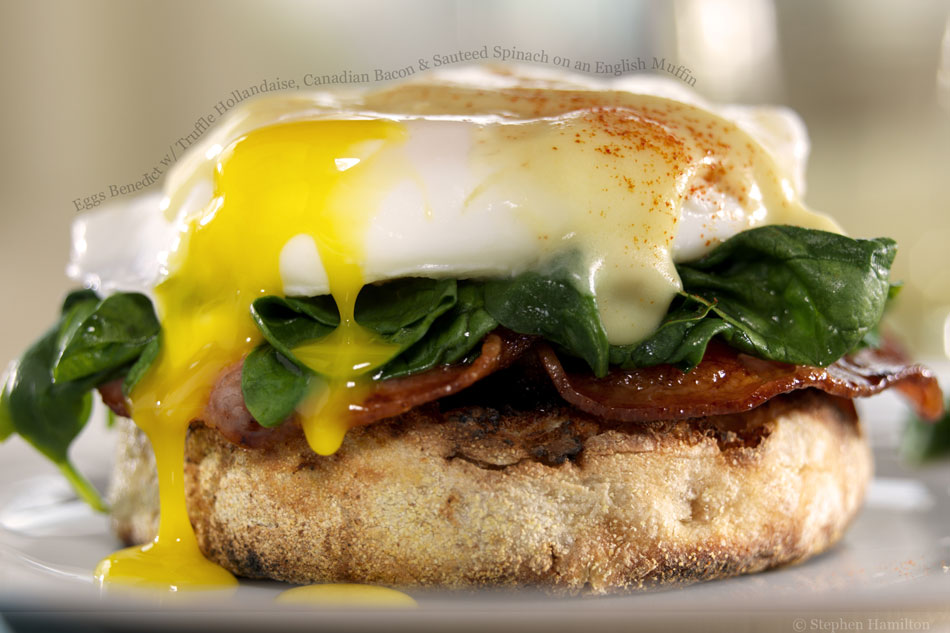 Eggs Benedict with Truffle Hollandaise, Canadian Bacon and Sauteed ...