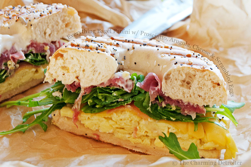 Everything Bagel Panini with Prosciutto, Arugula, Cheese and Scrambled Eggs