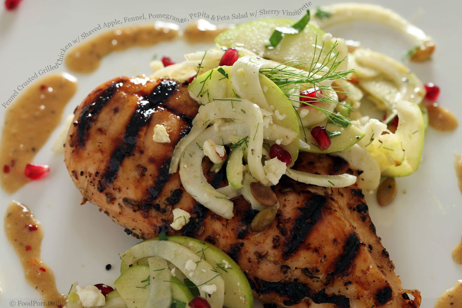 Fennel Crusted Grilled Chicken with Shaved Apple, Fennel, Pomegranate ...
