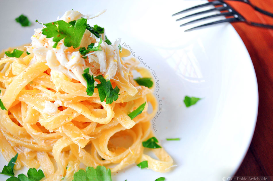Fettuccine Alfredo with Thai Red Curry and Lump Crab Meat