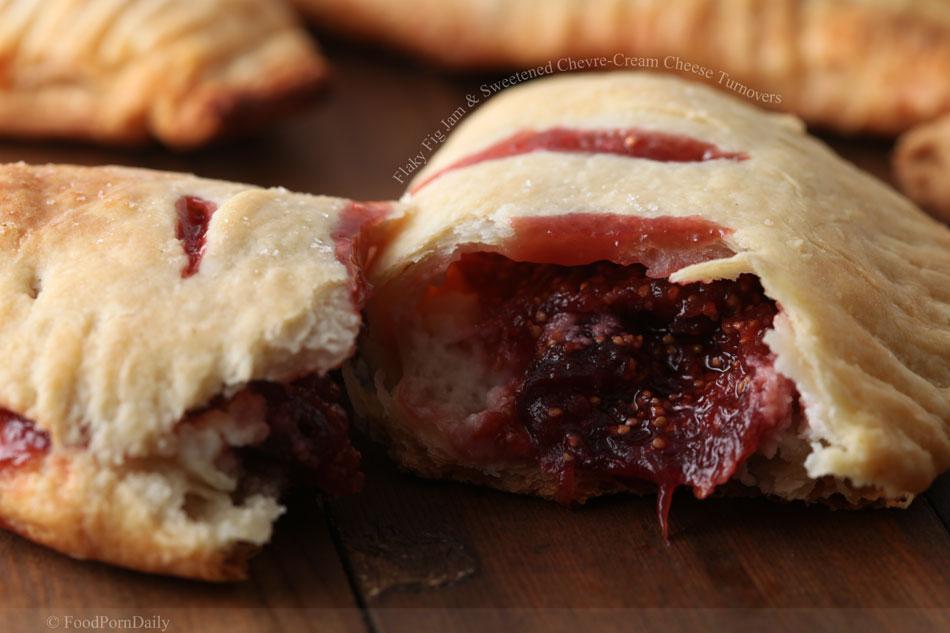 Flaky Fig Jam and Sweetened Chevre-Cream Cheese Turnovers