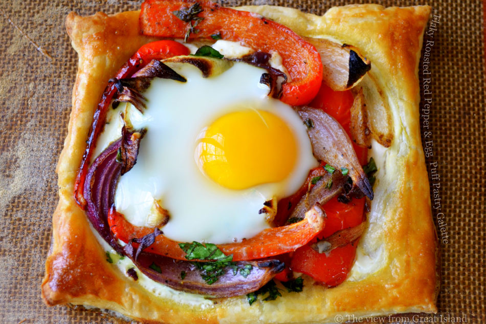 Flaky Roasted Red Pepper and Egg  Puff Pastry Galette