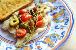 Flaky Sole Baked en Papillote with Tomatoes, Green Olives, Capers, White Wine and Thyme