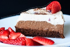 Flourless Chocolate Cake with Dark Chocolate Mousse and White Chocolate Strawberry Mousse